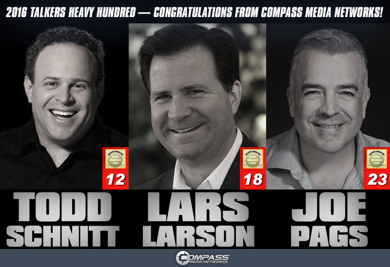 Schnitt, Larson, and Pags honored with 2016 TALKERS Heavy Hundred