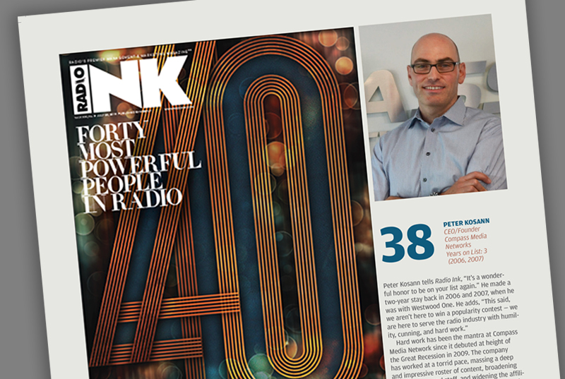 Peter Kosann recognized in RadioINK Top 40 Most Powerful