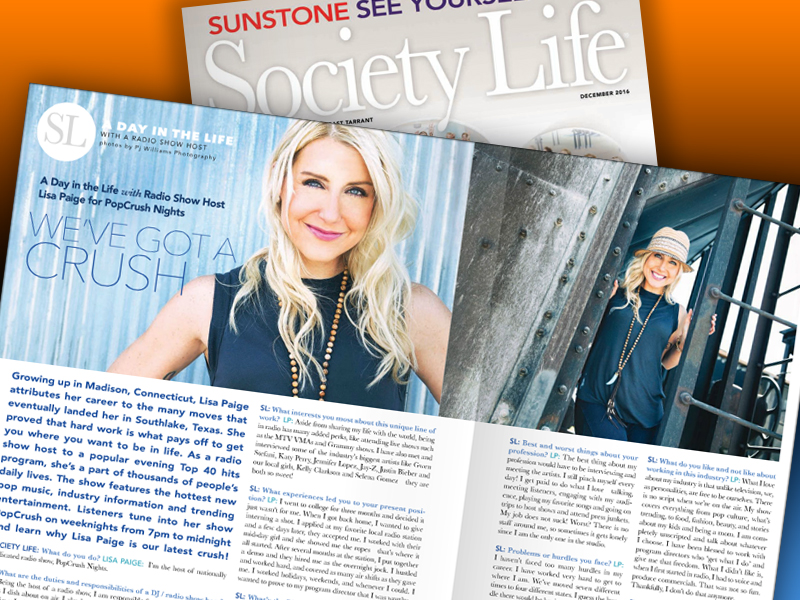 Lisa Paige featured in Society Life magazine