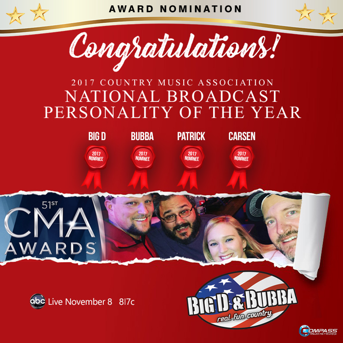 CMA nominates Big D, Bubba, Patrick and Carsen for 2017 National Broadcast Personality of the Year
