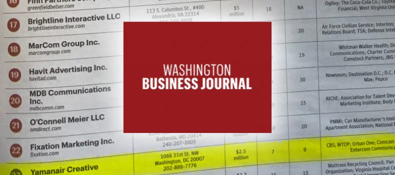 YamanAir Creative Named Top 25 Ad Agencies by Washington Business Journal