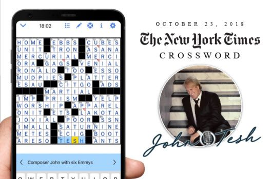 John Tesh featured in The New York Times Crossword Puzzle